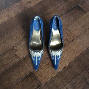 Gold embroidered blue stilettos